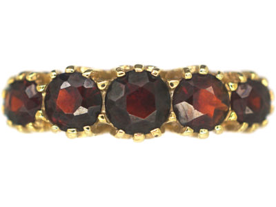 9ct Gold Five Stone Garnet Ring