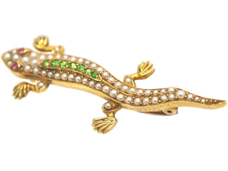 Edwardian 15ct Gold Salamander Brooch set with Natural Split Pearls, Green Garnets & Cabochon Rubies in Original Case