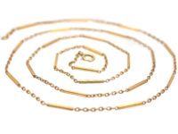 Edwardian 9ct Gold Baton & Trace Link Chain