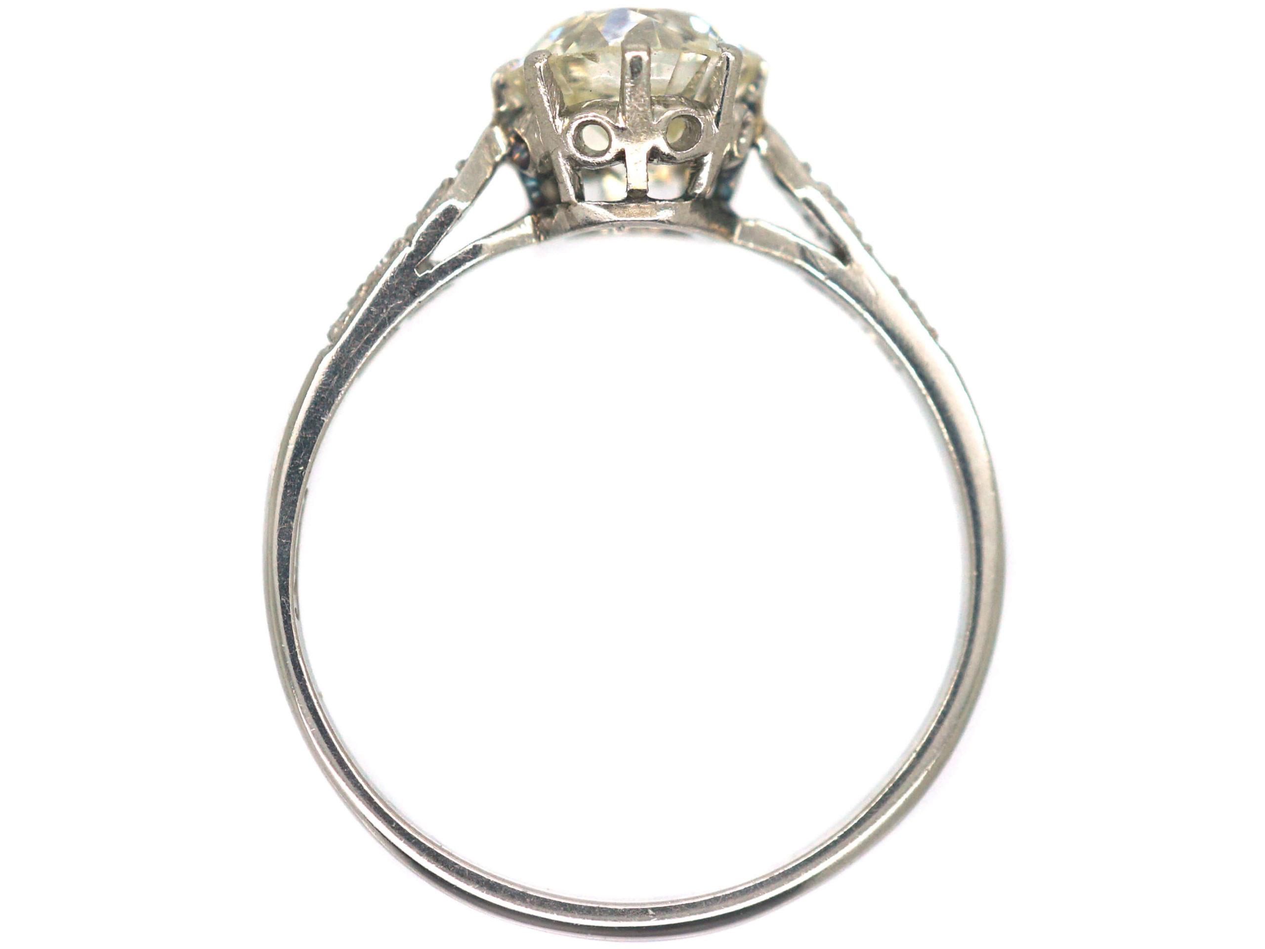 Art Deco Platinum, Diamond Solitaire Ring with Diamond Set Shoulders