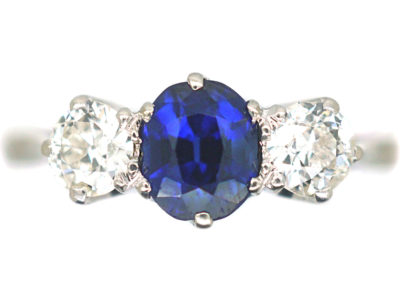 Platinum, Sapphire & Diamond Three Stone Ring