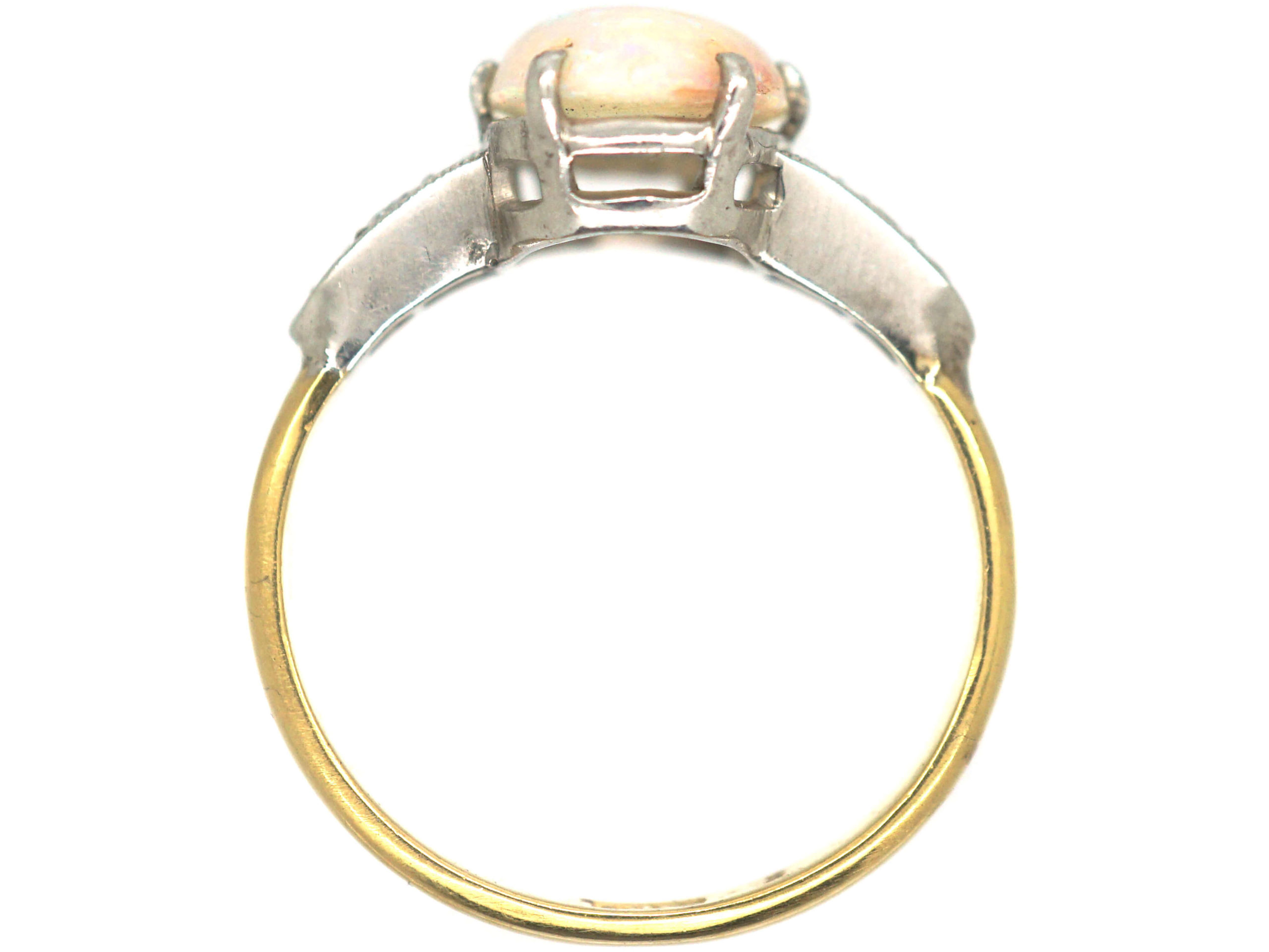 Art Deco 18ct Gold & Platinum, Opal & Diamond Ring