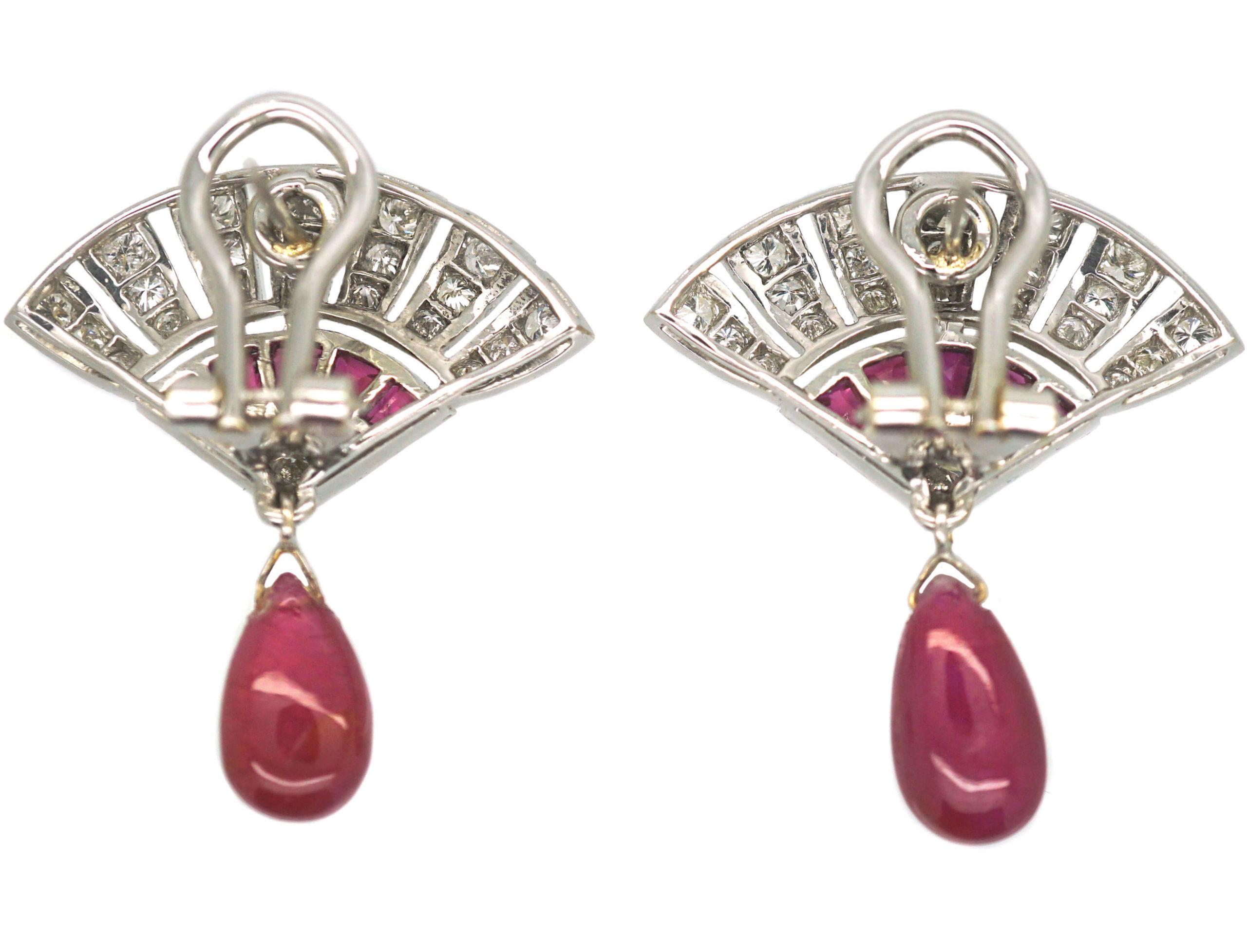 Art Deco 18ct White Gold Ruby & Diamond Fan Earrings