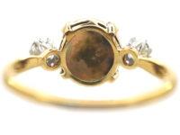 Art Deco 18ct Gold & Platinum, Diamond & Black Opal Ring