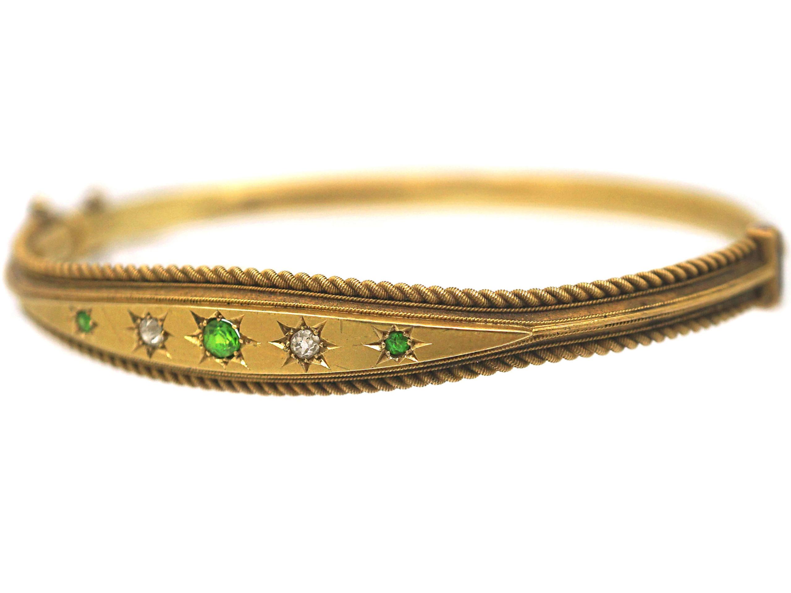 Edwardian 15ct Gold, Green Garnet & Diamond Bangle