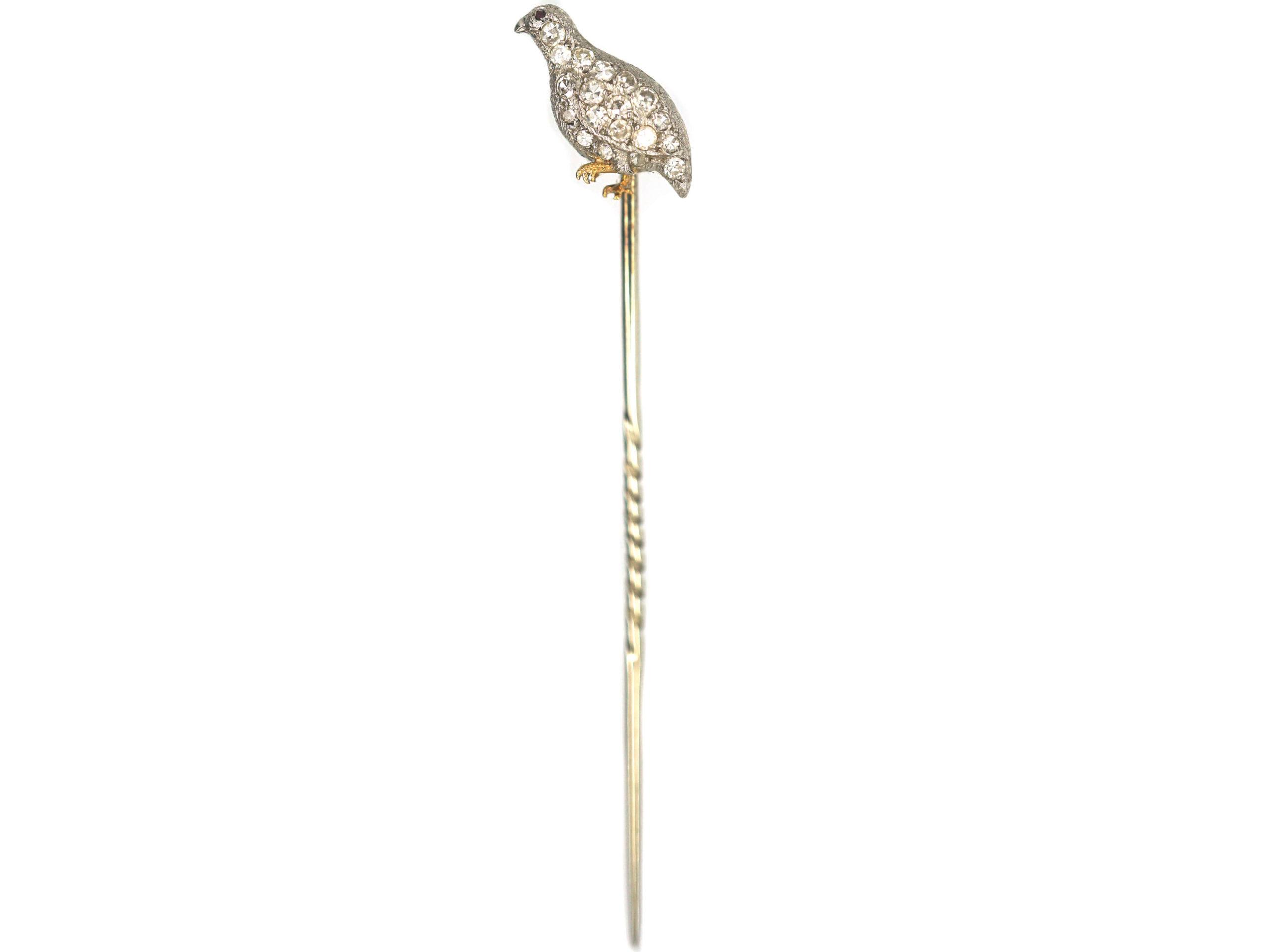 Edwardian Platinum & 18ct Gold Diamond Set Grouse Tie Pin