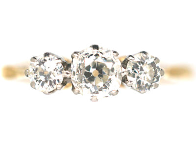 18ct Gold & Platinum, Three Stone Diamond Ring