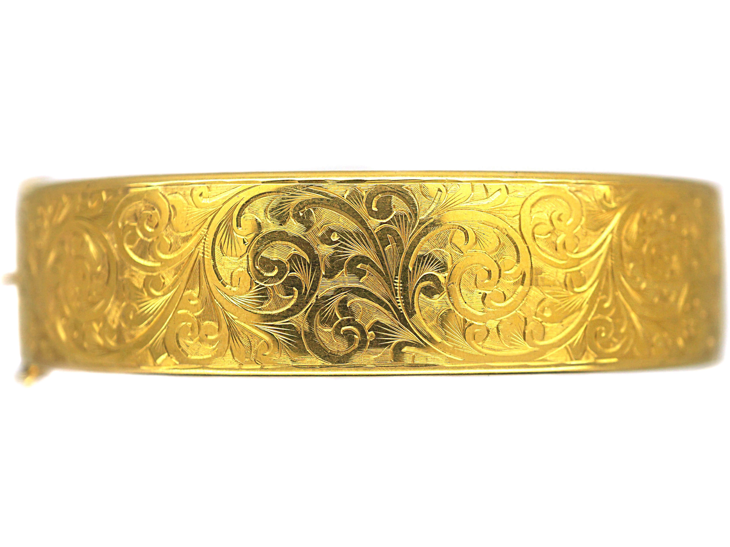 Retro 9ct Gold Bangle with Engraved Foliate Motifs