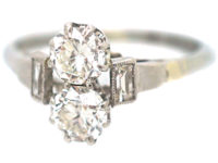 Art Deco Two Stone Diamond Ring with Baguette Diamond Shoulders