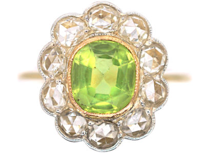 Edwardian 18ct Gold & Platinum, Peridot & Rose Diamond Cluster Ring