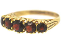 9ct Gold Five Stone Garnet Ring