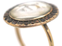 Georgian 9ct Gold Miniature Ring with Two Love Birds Surrounded by Flat Cut Garnets