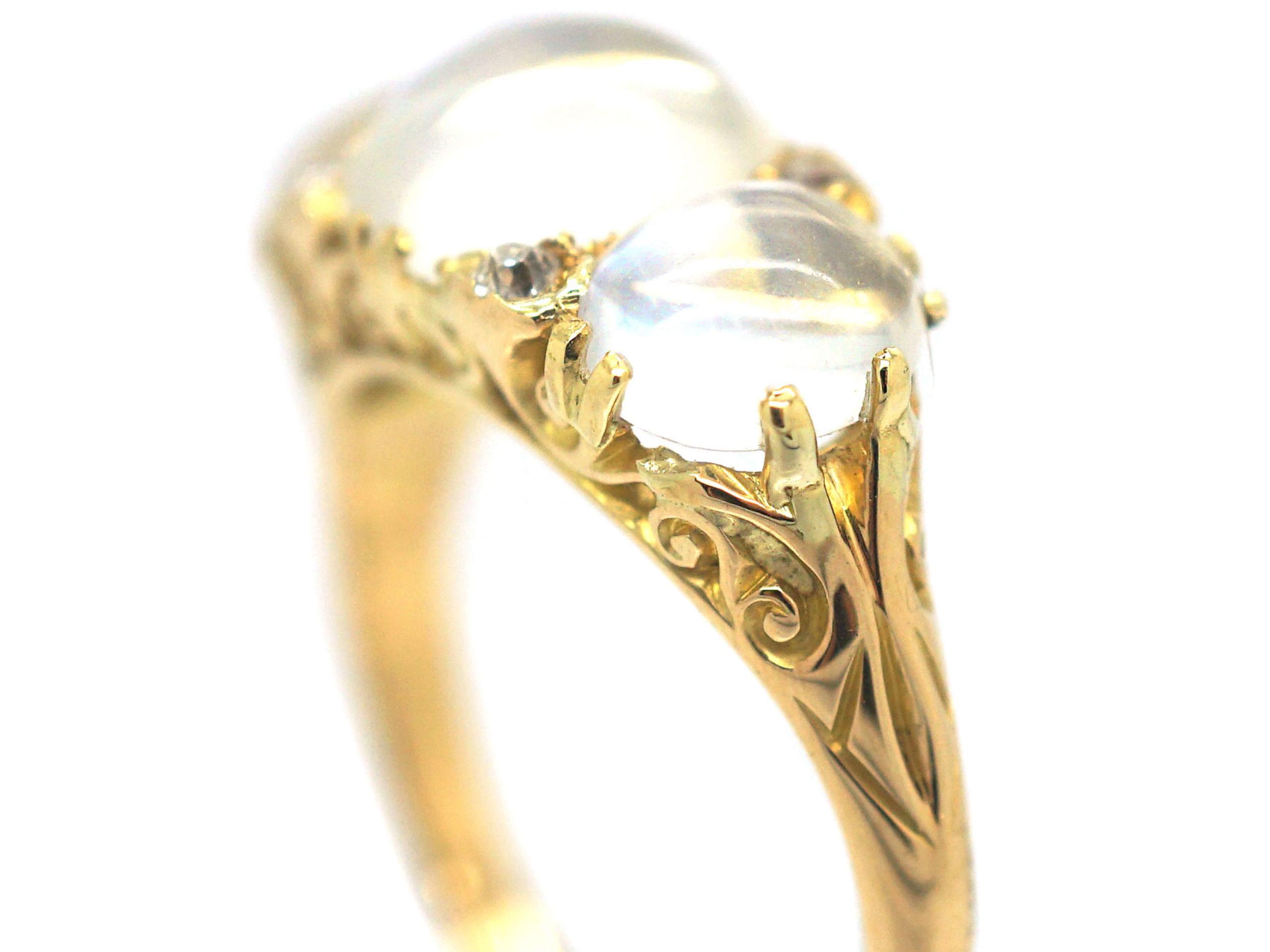 Victorian 18ct Gold Three Stone Moonstone & Diamond Carved Half Hoop Ring