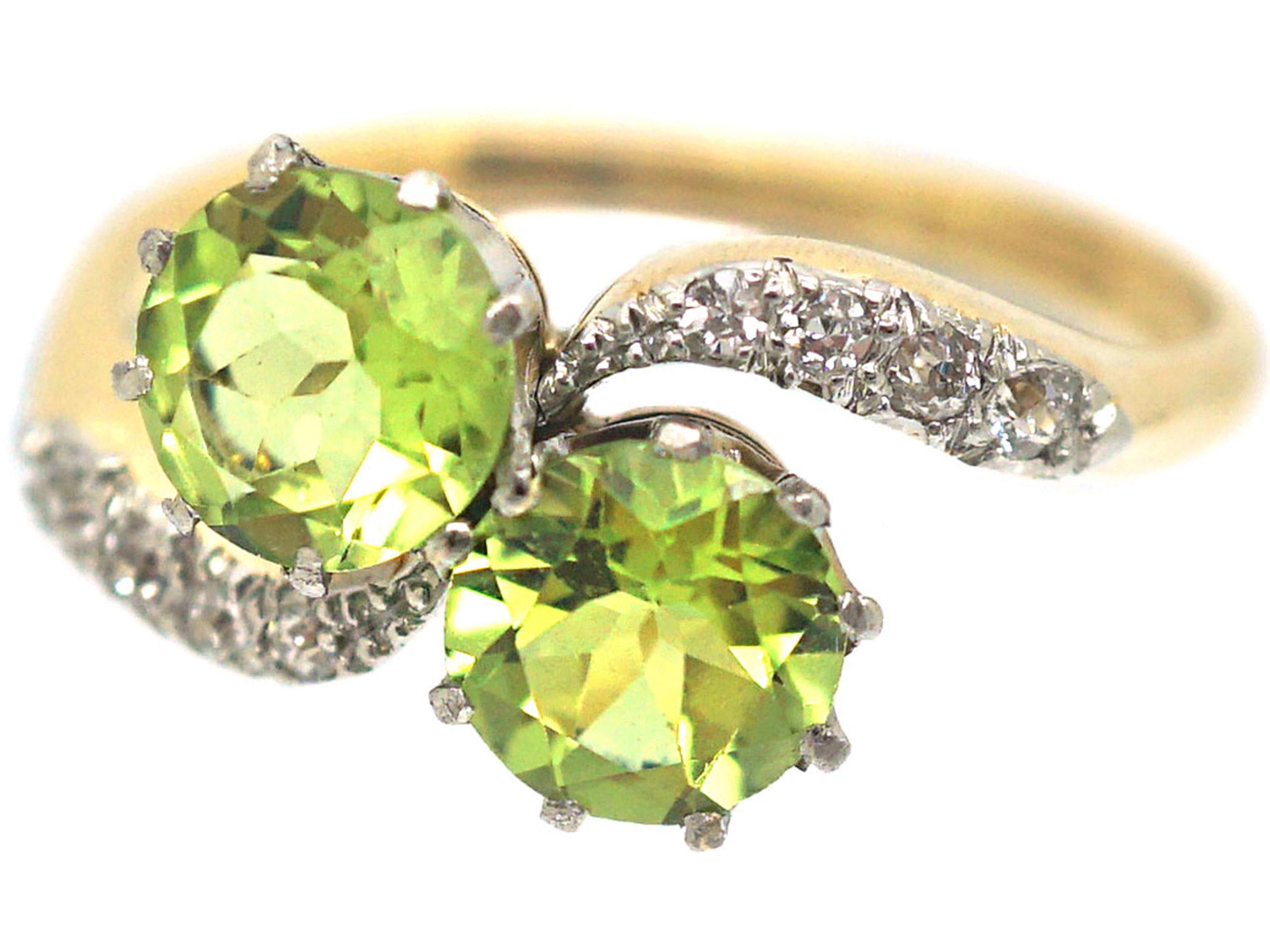 Edwardian 18ct Gold & Platinum Two Stone Peridot & Diamond Crossover Ring