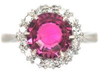 18ct White Gold Pink Tourmaline & Diamond Cluster Ring