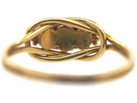 Early Victorian 18ct Gold, Ruby & Natural Pearl Lover's Knot Design Ring