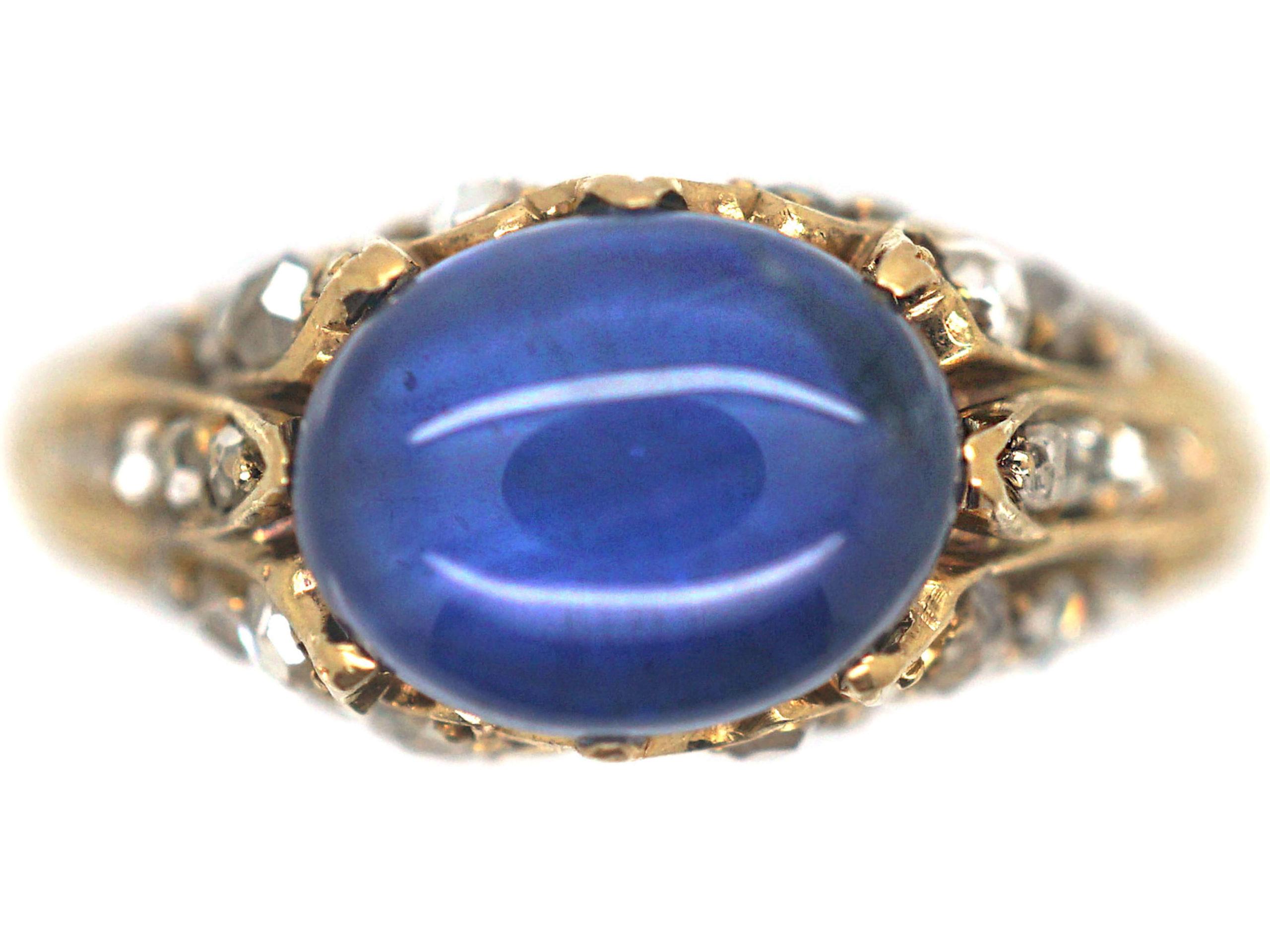 Edwardian 18ct Gold, Cabochon Sapphire & Rose Diamond Ring