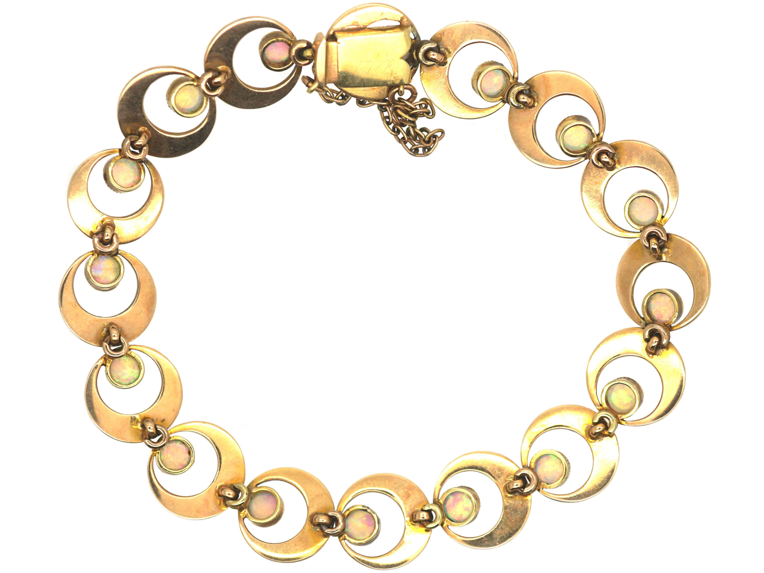Edwardian 15ct Gold & Opal Interlinked Circles Bracelet