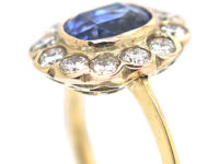 Edwardian 18ct Gold , Sapphire & Diamond Cluster Ring