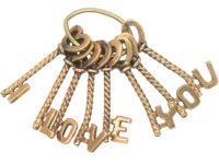 9ct Gold Keys Pendant Spelling I Love You