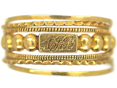 Georgian 18ct Gold Puzzle Ring with Monogram
