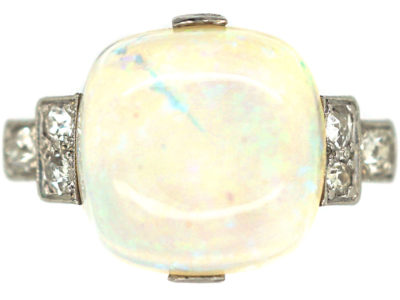 Art Deco 18ct White Gold & Platinum Cabochon Opal Ring with Step Cut Shoulders set with Diamonds