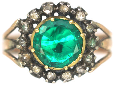 Georgian Emerald & Rose Cut Diamond Cluster Ring