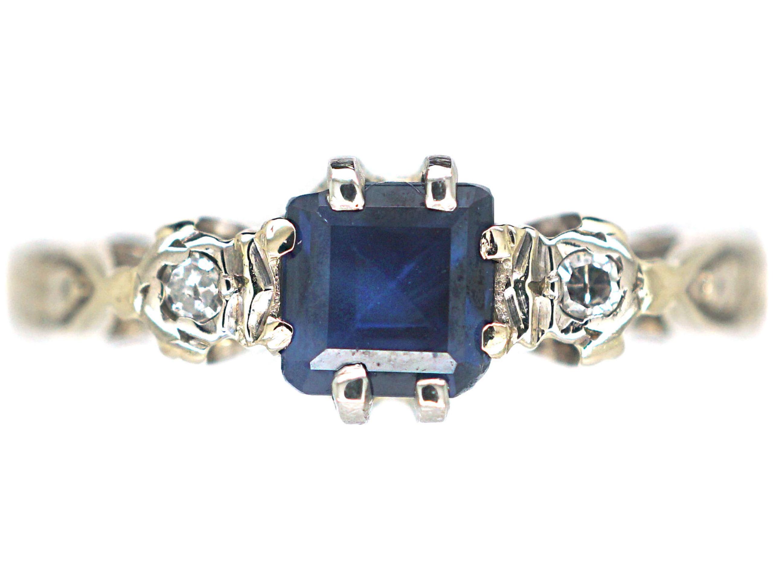 18ct White & Yellow Gold, Sapphire & Diamond Three Stone Ring