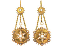 Victorian 18ct Gold & Natural Split Pearl Star Earrings