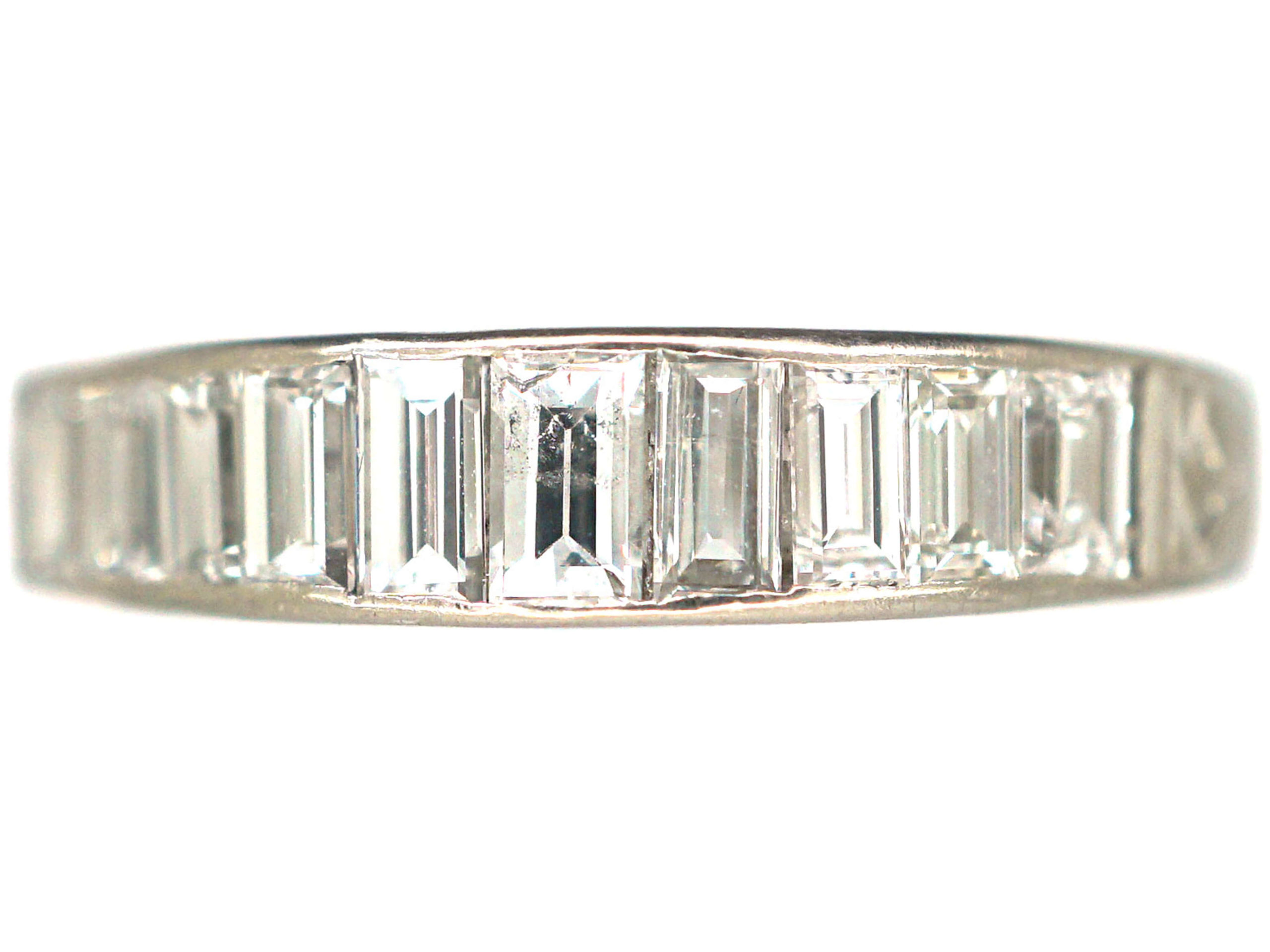 Art Deco Platinum & Baguette Diamond Half Eternity Ring