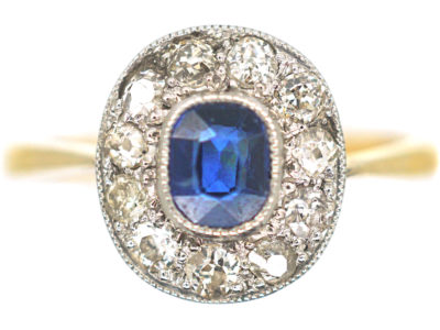 Edwardian 18ct Gold & Platinum, Sapphire & Diamond Cluster Ring