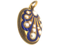 Victorian 18ct Gold Royal Blue Enamel & Natural Split Pearl Pendant with Scallop Motif