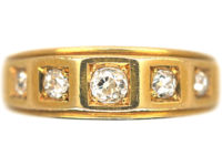 Victorian 18ct Gold Ring set with Five Diamonds in Square Settings