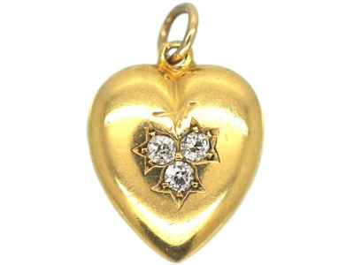 Edwardian 18ct Gold Heart Pendant set with Three Diamonds