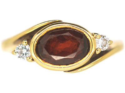 18ct Gold, Garnet and Diamond Ring