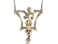 Edwardian Gold & Silver, Diamond & Natural Pearl Pendant on Silver Chain