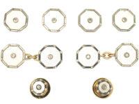 Art Deco 9ct Yellow Gold & 18ct White Gold, Mother of Pearl & Diamonds Cufflinks & Studs Dress Set in Original Case