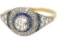 Art Deco 18ct Gold & Platinum, Sapphire & Diamond Target Ring