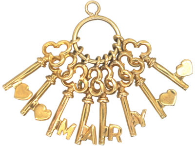 9ct Gold Keys Pendant Spelling Mary
