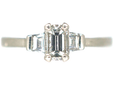Platinum, Three Stone Baguette Diamond Ring