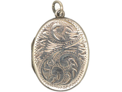 Oval Silver Locket with Foliate Engraving