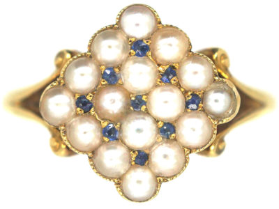 Edwardian 18ct Gold Pave Set Natural Split Pearls & Sapphires Diamond Shaped Ring