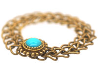 Georgian 18ct Gold Forget Me Not Chain Ring set with a Turquoise