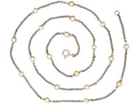 Art Deco 18ct White Gold Chain set with Nineteen Natural Pearls