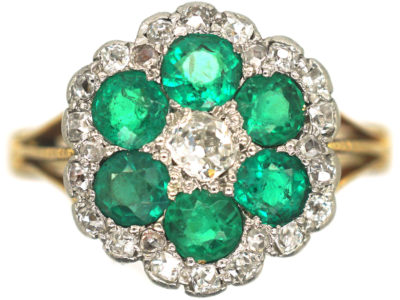 Edwardian 18ct Gold, Emerald & Diamond Flower Cluster Ring