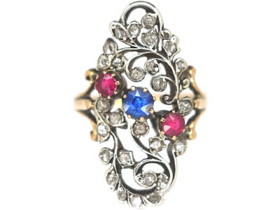 Art Nouveau Austrian 14ct Gold, Ruby Sapphire & Rose Diamond Floral Ring