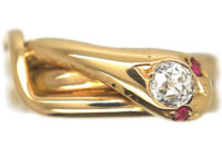 Victorian 18ct Gold Snake Ring with a Diamond Head & Ruby Eyes