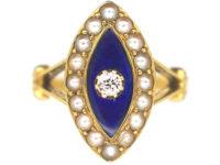 Victorian 18ct Gold, Blue Enamel, Natural Split Pearls & Diamond Navette Shaped Ring