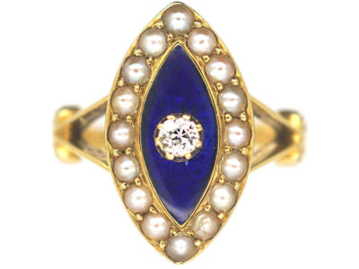 Victorian 18ct Gold, Blue Enamel, Natural Split Pearls & Diamond Navette Shaped Ring