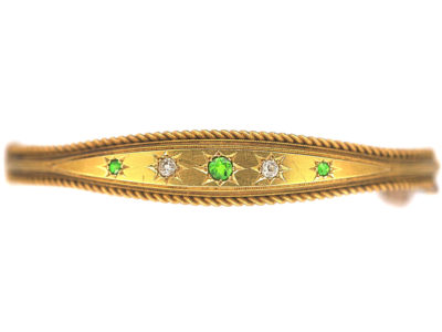 Edwardian 15ct Gold, Green Garnet & Diamond Bangle